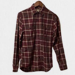 J.Crew Plum Grey Plaid Cotton Flannel Shirt XS